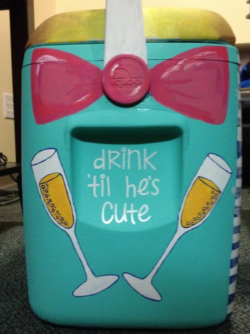 cooler: Bachelorette Parties, Coolers Paintings, Painted Coolers, Paintings Coolers, Bows, Summer Girls, Coolers Ideas, Drinks, Crafts
