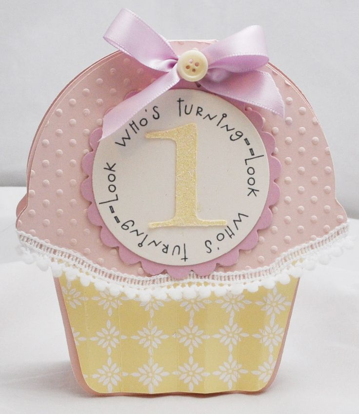 1st Birthday Cupcake Shaped Card - Invitation - Baby Girl