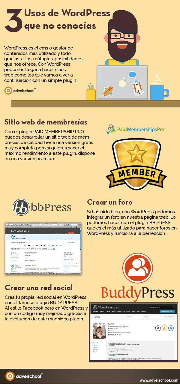 3 usos de WordPress que no conocías #infografia                                                                                                                                                                                 Más