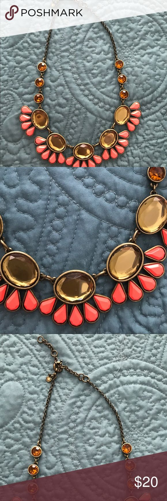 J crew statement necklace J Crew orange and Gold statement necklace j crew Jewelry Necklaces