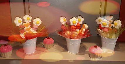 fleurs en bonbons, composition du jour!