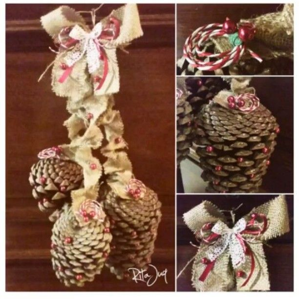 "My 2016 Christmas door decoration!😄❤🌲🎅🌲❤😄 (Sorry for 🎬 quality, but the lighting in the lobby of my floor is poor &  terrible for phone 📷😕) #diy : #pinecones➕burlap➕forged #mistletoe berries(red ""pearl"" necklace😉)➕red & white #raffia #twine➕green wavy #ribbon➕red ribbon➕#laceribbon➕hot glue gun➕glue for the hot glue gun😂➕finding line #crafts #doordecor #christmasdecor #christmasdecorations #christmas #christmascrafts #christmasdiy #xmas #xmascrafts #picmotion"