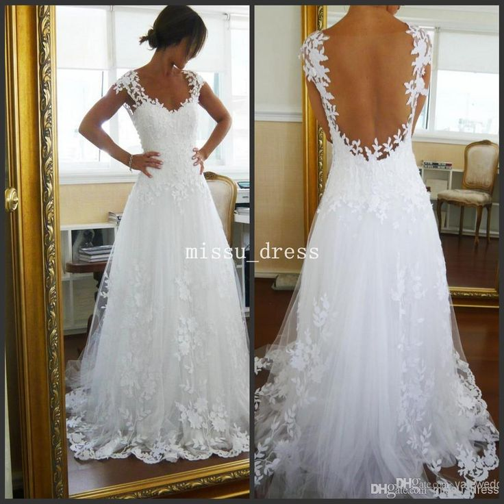 Wholesale Lace Wedding Dress - Buy White Best Selling V-neck Sleeveless Lace Sweep Train A-line Wedding Dresses Fast Selling, $137.07 | DHgate.com