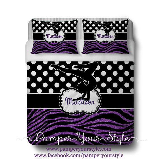 Gymnastics Comforter or Duvet with 2 Matching Shams - Personalized Gymnastics Polka Dot and Zebra Bedding - Glitter Zebra Bedding