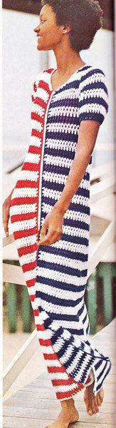 Vintage Crochet RedWhite and Blue Beach Dress by LittleGalsStudio, $2.50