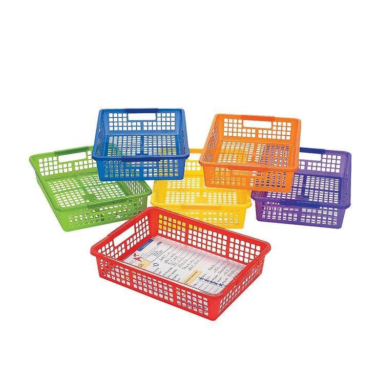 Classroom Storage Baskets with Handles - OrientalTrading.com