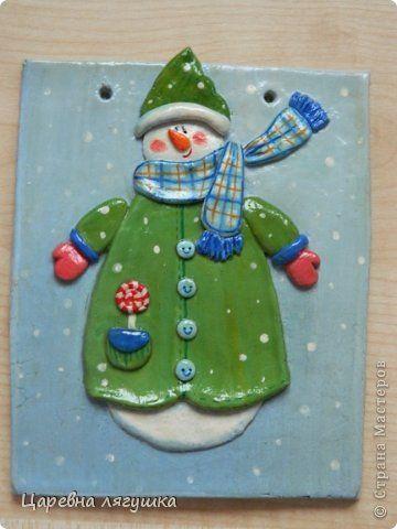 Поделка изделие Новый год Лепка Снеговики и подковы Гипс Гуашь Ленты Тесто соленое фото 8
