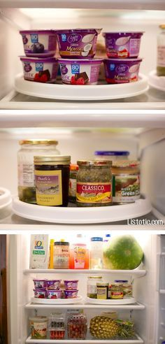 11 Brilliant Fridge Organization Ideas -- Use lazy susans in your refrigerator!! I can't believe I've never thought of this.