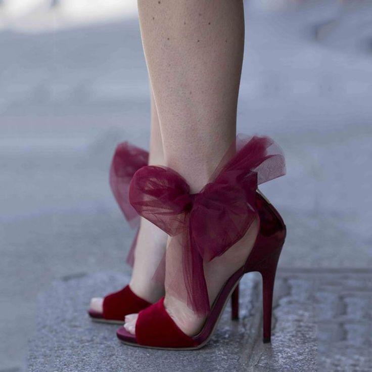 Shoespie Dreaming Burgundy Mesh Knot Stiletto Heels