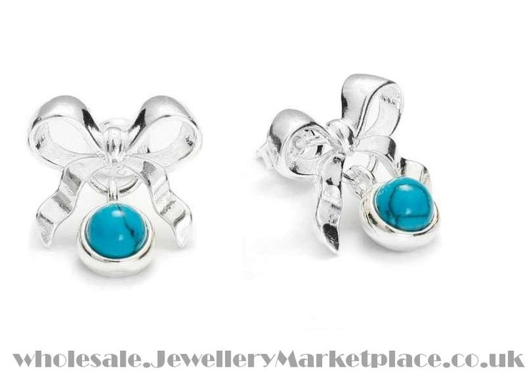 Bow Tie Ribbon Silver Earrings with Turquoise | Jewellery Marketplace Wholesale