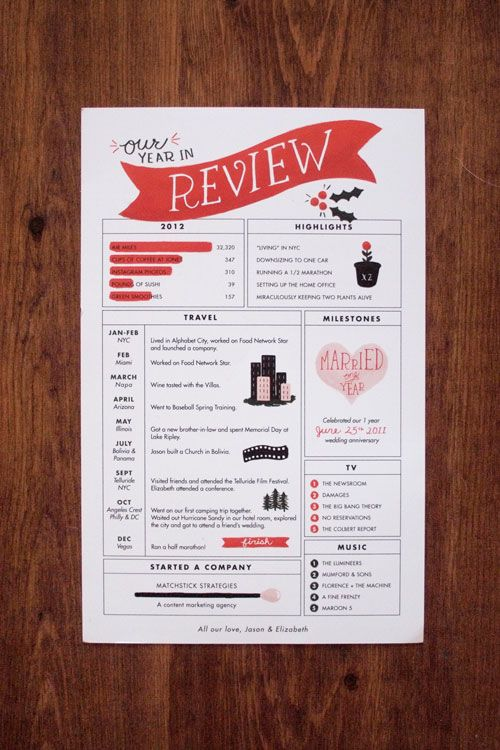 13- I love Year In Review layouts - be inspired by this christmas card to create a LO that summarizes last year (2012). - 2pts.