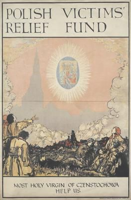 Anon, 1916, Polish refugees gathered in a devastated landscape watch a vision of the 'Black Madonna' icon floating above a silhouette image of Jasna Gora monastery. IWM PST 10926 - The Holy Virgin of Czenstochowa, also known as the 'Black Madonna', is an icon. It is held in the monastery of Jasna Góra, Poland's most famous shrine, The Black Madonna is reputed to have miraculously saved the town from the invading Swedes in 1705, and is believed by many Catholics to have been painted by St…