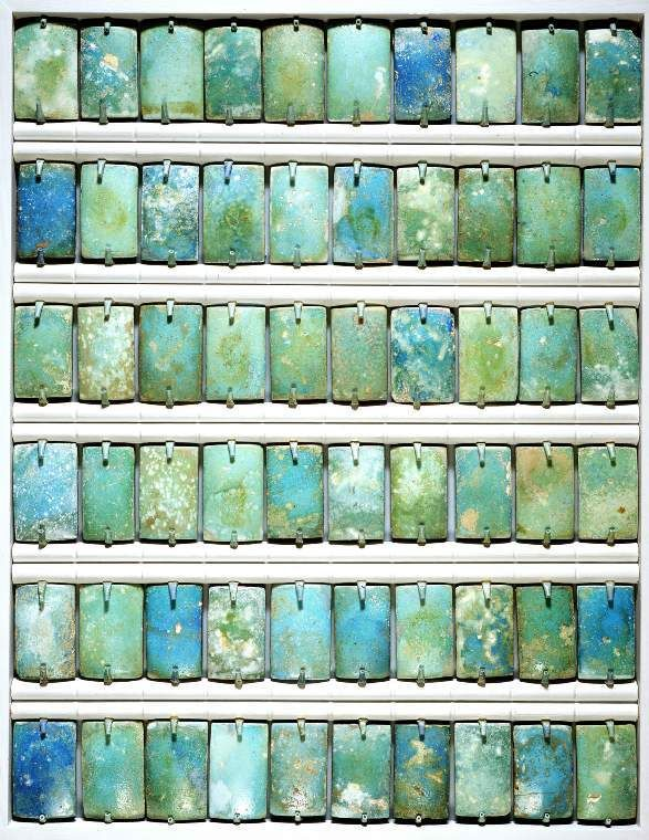 Faience wall tiles from the funerary apartment of King Djoser in the step pyramid at Saqqara. ca 2630-2611 BC