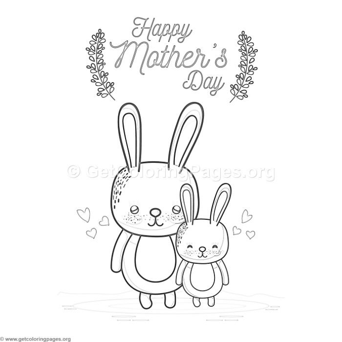 Free Download Cute Cartoon Rabbit Happy Mother S Day Card Coloring Pages Coloring Coloringbook Happy Mother S Day Card Coloring Pages Diy Mother S Day Crafts