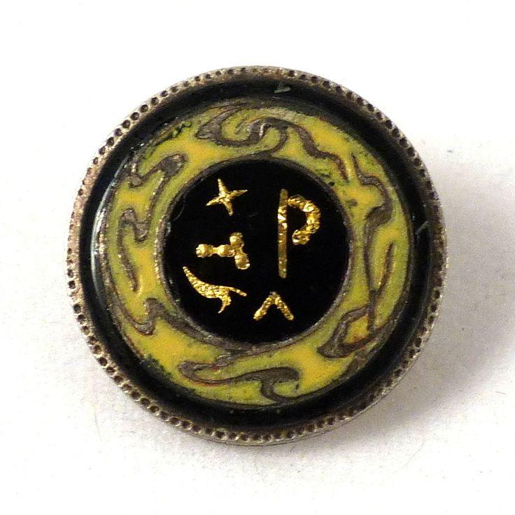 Bouton ancien franc-maçon émail fin XIX Freemason Maçonnique antique buttons