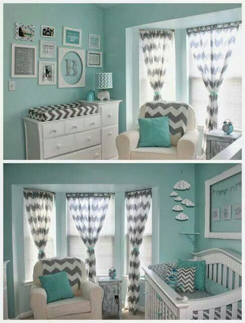 Teal and grey with chevron nursery