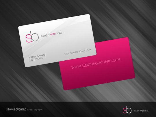 Business Card Design - Simon Bouchard, designed by Simon Bouchard. #businesscard #typography #design #stylish  I like the simplicity and elegance of this card. The sb logo is appealing to me as well. The colors are great.
