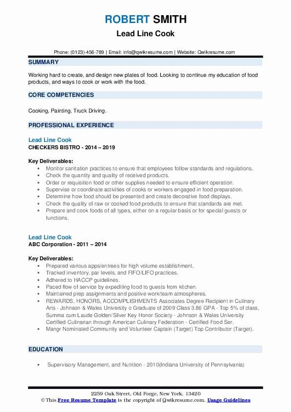 Culinary Resume Culinary Resume Objective Examples Resume Resume Layout