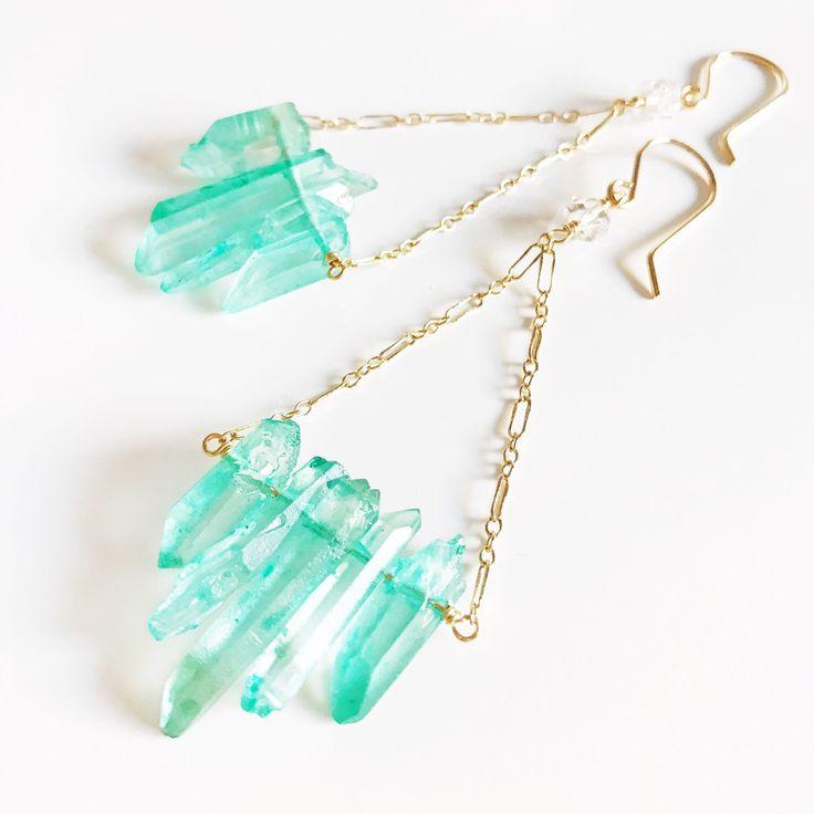 Earrings Riko – aqua blue quartz earrings – crystal quartz earrings – titanium quartz earrings (E372)