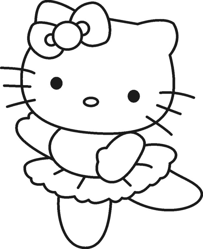 print out hello kitty ballet dancer coloring sheet printable coloring pages for kids - Kitty Printable Color Pages