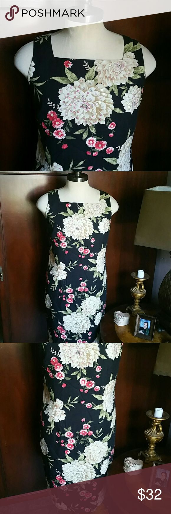 POSITIVE ATTITUDE - FLORAL SEQUIN DRESS This is so pretty!  Floral with sequins on front white flowers Great for a dinner party, or even a wedding Either way this is very versatile  Wore this for a wedding and that's it, so like new!! positive attitude  Dresses