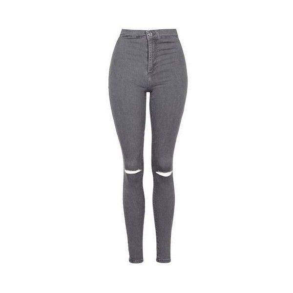 TopShop Moto Grey Ripped Joni Jeans ($49) ❤ liked on Polyvore featuring jeans, pants, bottoms, grey, jeans/pants, stretchy skinny jeans, high-waisted jeans, stretch skinny jeans, distressed skinny jeans and super skinny jeans