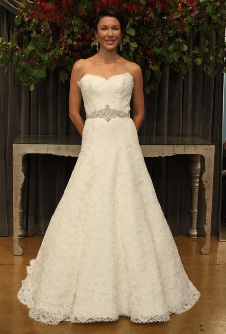 """Brides: Judd Waddell - Fall 2012. """"Charlotte"""" strapless lace A-line wedding dress with a sweetheart neckline and beaded sash, Judd Waddell"""