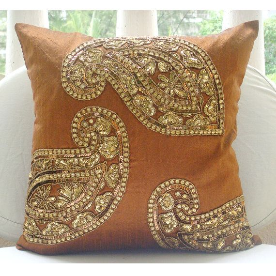 Decorative Throw Pillow Covers 16x16 Burnt Orange Silk Embroidered Accent Pillows Sofa Couch Pillows Bed Pillow Cases Traditional Paisleys