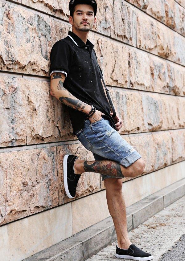 Slim Fit Distressed Denim Shorts Strunway Inspirations
