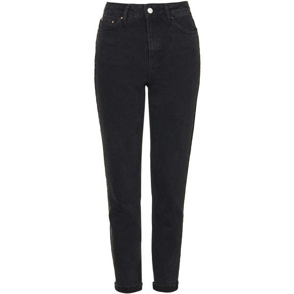 TopShop Moto Washed Black Mom Jeans ($58) ❤ liked on Polyvore featuring jeans, pants, topshop, washed black, tapered leg jeans, cuff jeans, cuffed jeans, high waisted black skinny jeans and highwaist jeans