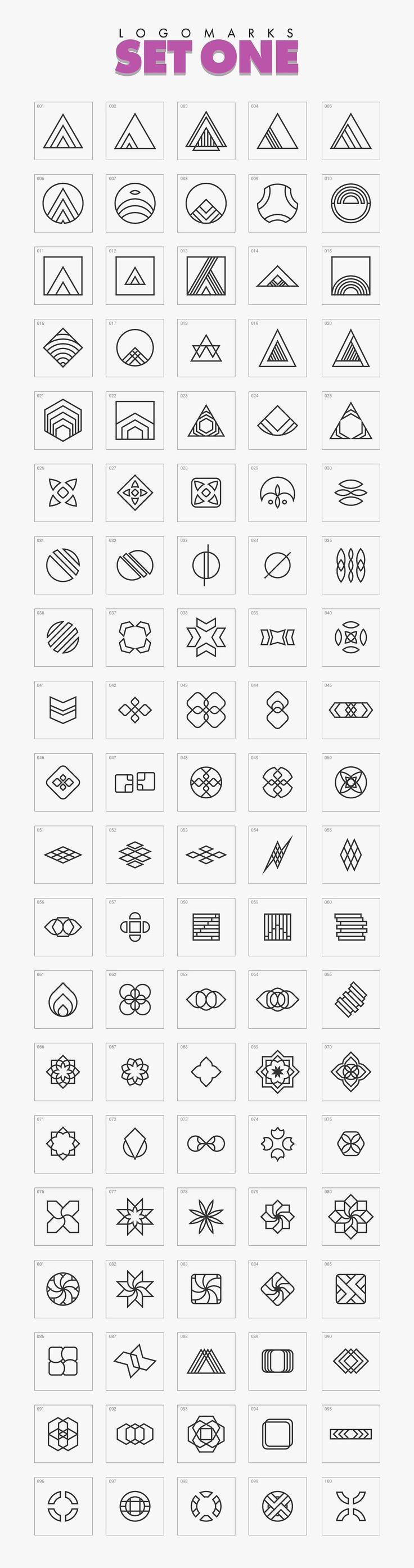 1000+ Geometric Logo Marks Bundle by Warna Works on @creativemarket