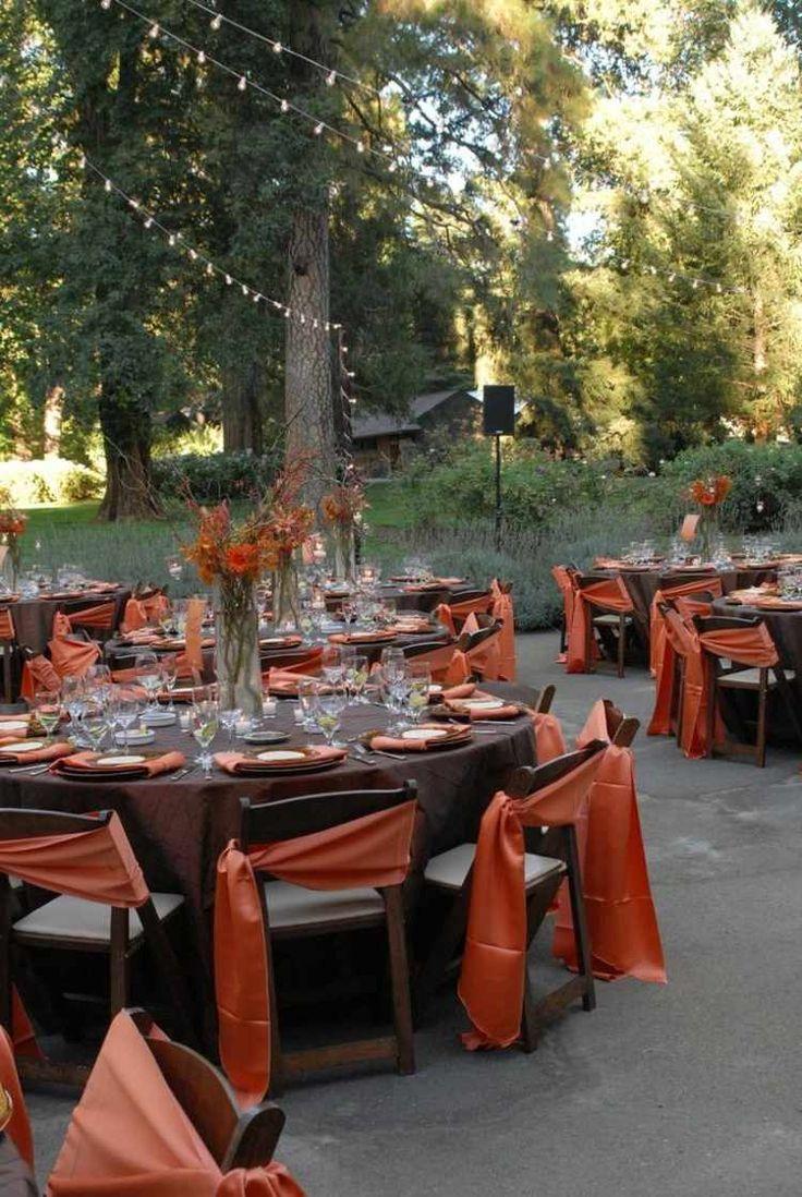 déco de table mariage en marron et orange
