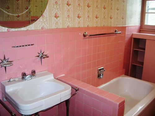 It's so pretty! Lovely pink vintage bathroom!! Our bathroom was like this on Jefferson street - exactly! I remember my sons first bath in identical tub in identical room - 1991