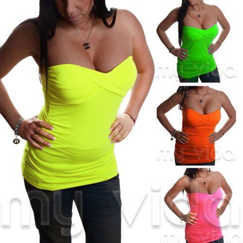 Maglia-maglietta-top-fascia-donna-bustino-arricciato-colori-FLUO-sexy-moda-M46