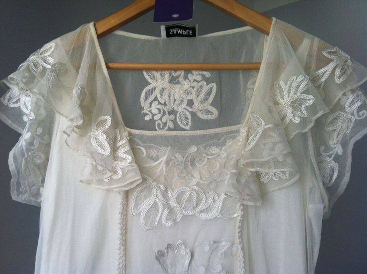 20s Vintage Style Ivory Lace Mesh Dress w/slip ex-sample clearance click frenzy!