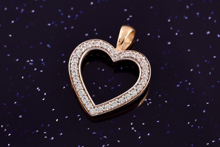 Zlatý přívěsek srdce se zirkony P049 1,60g