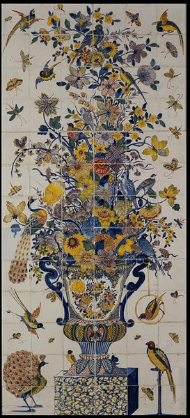 Polychrome tile panel comprising of 78 tiles depicting a two-handles garden vase with flowers and exotic birds. Delft, Netherlands, circa 1710-1750