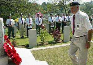 Royal Welch Fusiliers Comrades paying their respects in Malaya in commemoration of those members of the 2nd Battalion RWF who were killed during the Malayan Emergency in the early 1050s.