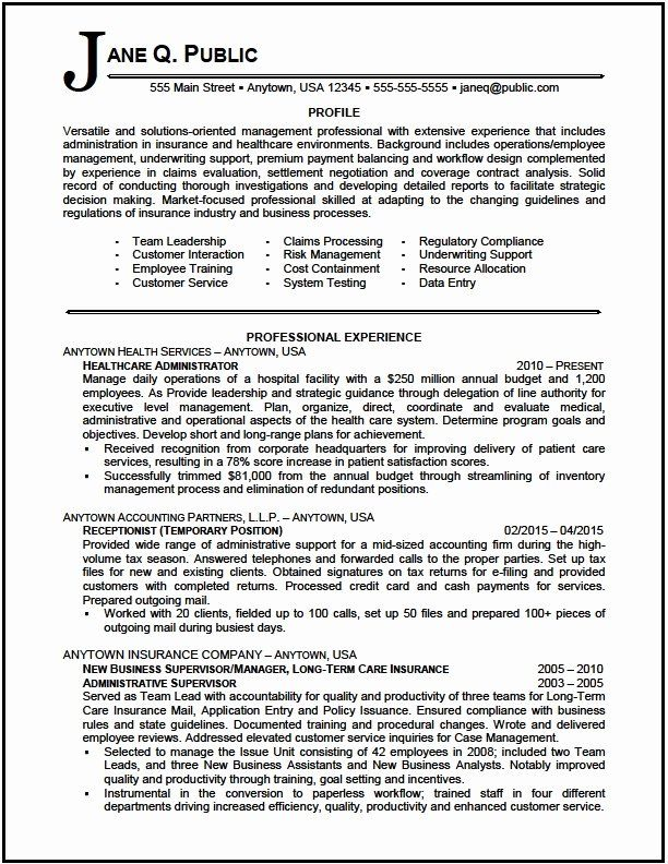 Health Care Administration Resume Samples Unique Healthcare Administrator Resume Sample The Resume Clinic Job Resume Samples Resume Examples Resume Summary