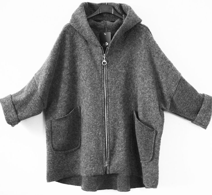 Oversize Wolljacke Walk Jacke gekochte Wolle Kapuze  ab 42 44 46 48  Lagenlook