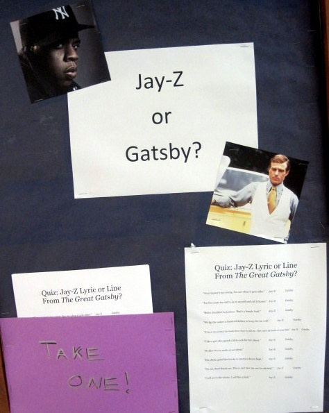 """Jay-z or Gatsby?"" -- Another awesome quote quiz-- this one is a little easier than ""Tupac or Shakespeare""... but it still stumped us on a few! The full online quiz is here: http://www.vulture.com/2013/01/jay-z-great-gatsby-quiz.html"