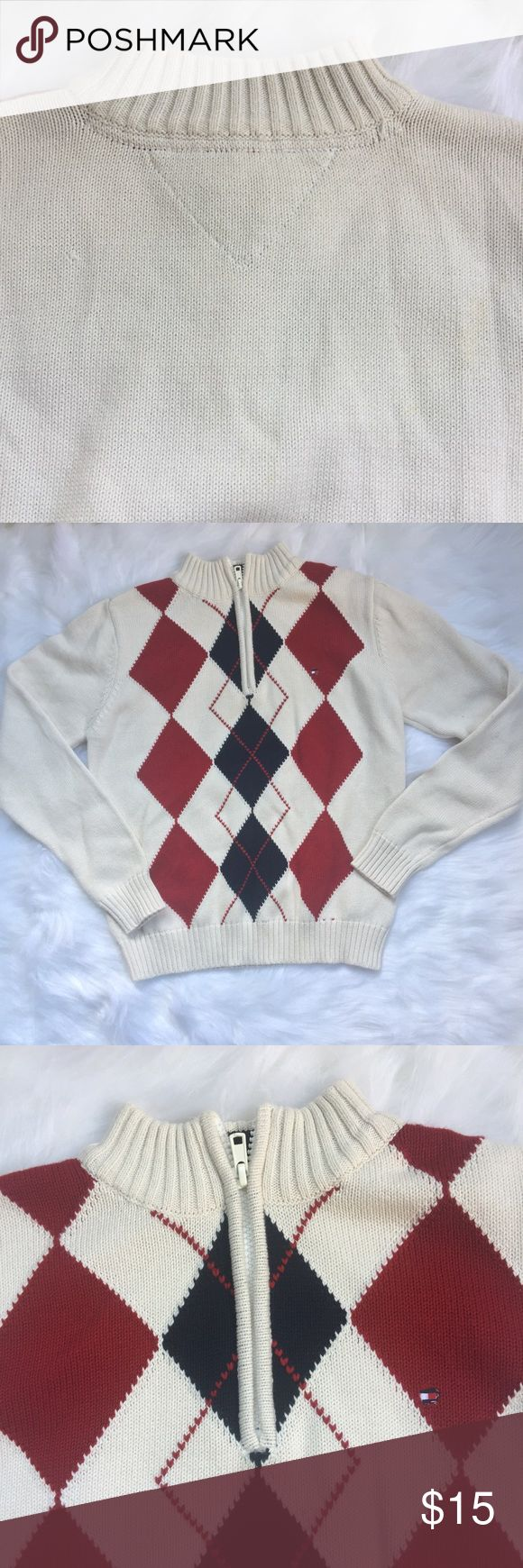 """Tommy Hilfiger Argyle Half Zip Pullover Sweater Tommy Hilfiger White Argyle Half Zip Pullover Boys Knit Sweater Size Small 8-10  Sweater is knit, long sleeve, white, burgundy, blue argyle design, half zip. Sweater is pre owned and in excellent condition: no rips, tears or stains.   Size: Small 8-10 Length: 20.5"""" Sleeves: 21""""  Chest: 24"""" Fabric: 100% Cotton Tommy Hilfiger Shirts & Tops Sweaters"""