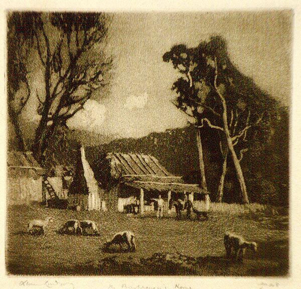 Lionel LINDSAY 1925, The Bushranger's house [Ben Hall]