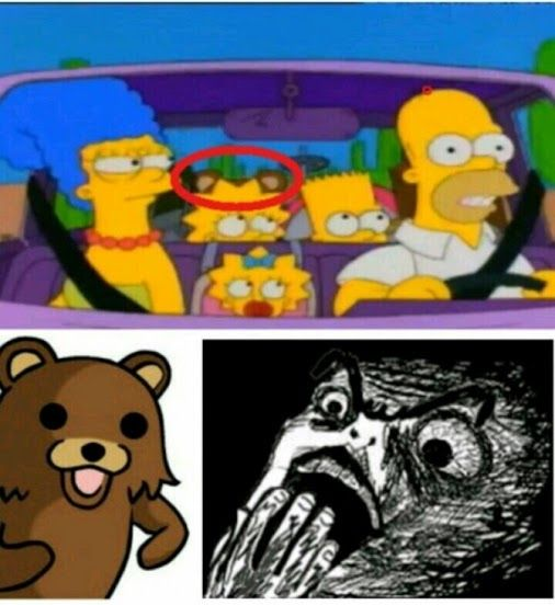 Pedobear escondido en Los Simpson :v Para más imágenes graciosas visita: https://www.Huevadas.net #meme #humor #chistes #viral #amor #huevadasnet
