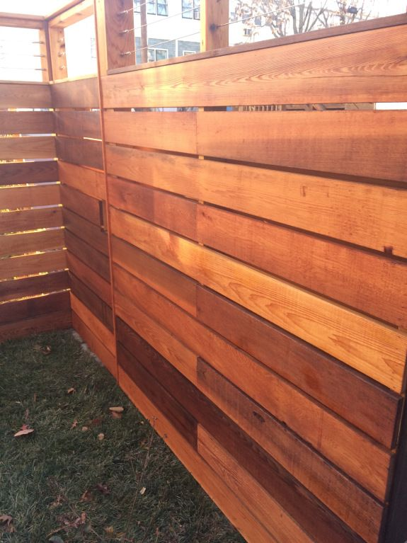 Cedar Fence Finished With Raw Linseed Oil And Pine Tar