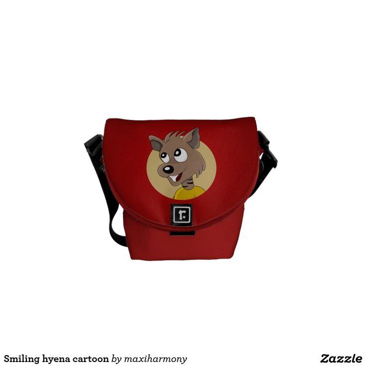 Smiling hyena cartoon courier bag