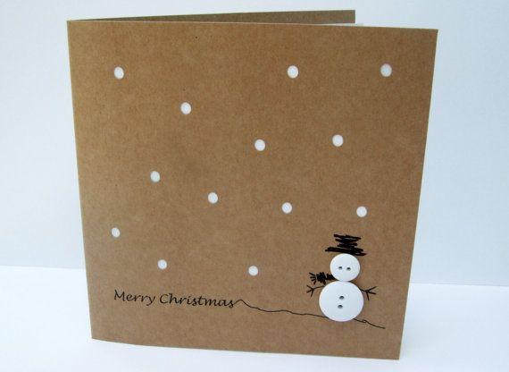 Carte de Noël - bonhomme de neige bouton avec du papier de coupe carte de vacances de neige - carte de voeux fait main papier-
