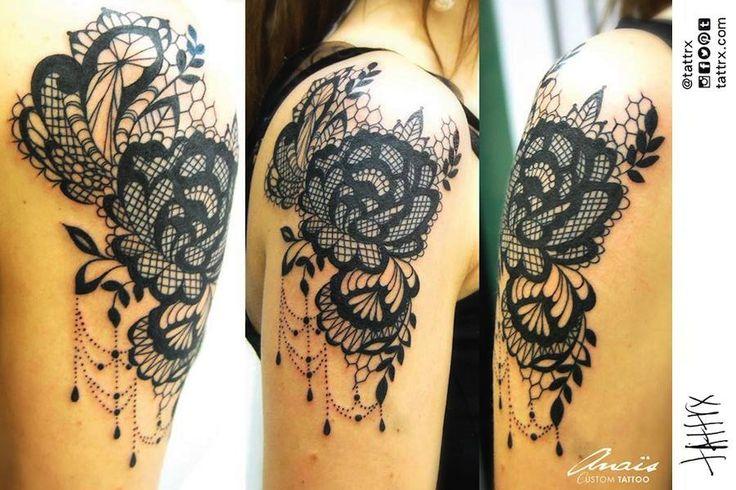 lace tattoo, tattrx, Anaïs Allnt, Nantes, France, tatouages, tatouage, neotraditional, tattoos, female tattoo artist, new school, neotradsub