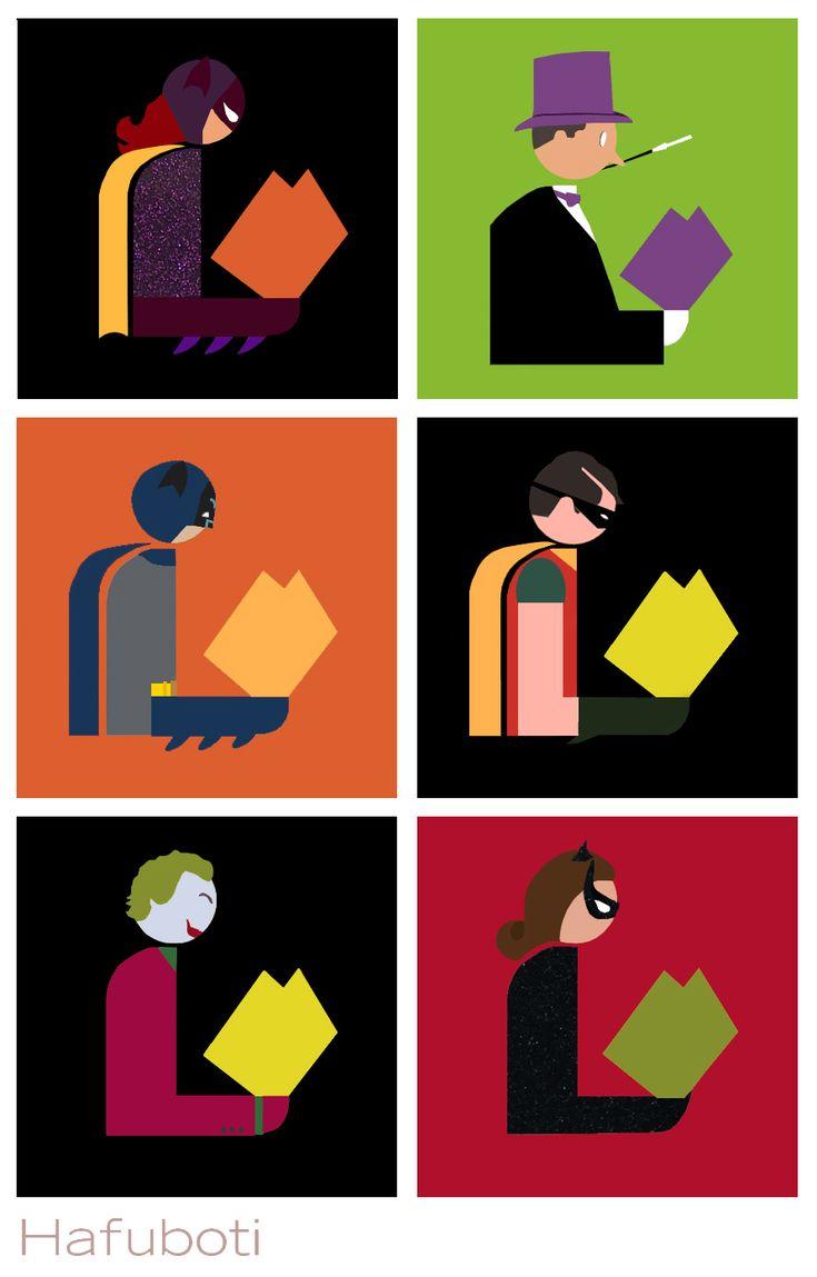 Holy Mashups, Batman! Library logo mashups with Batman 66 characters: Batgirl, Penguin, Robin, Joker, Catwoman, and bonus Bookworm and Surf's Up Batman at the link! | Hafuboti
