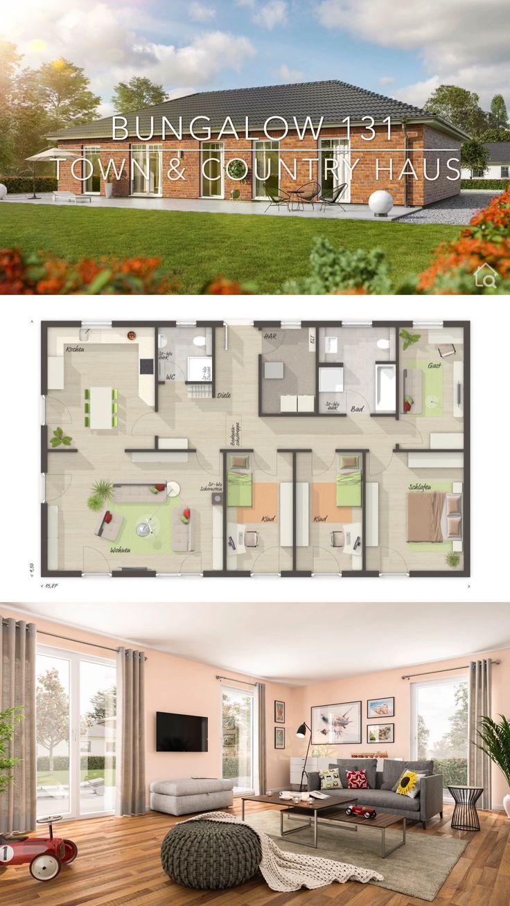 Landhaus Bungalow 5 Zimmer Massivhaus modern mit Klinker bauen – Haus Ideen mit Grundriss